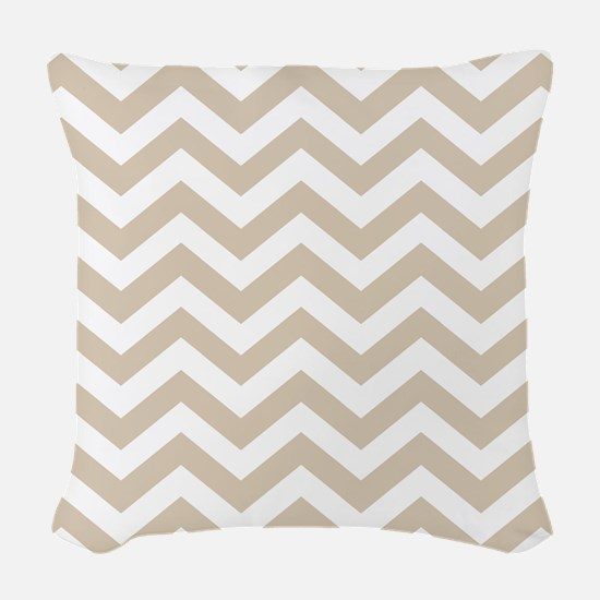 Brown, Beige: Chevron Pattern Woven Throw Pillow