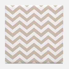 Beige (Khaki) Chevron Pattern Tile Coaster
