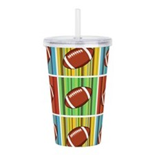 Football Pattern Acrylic Double-wall Tumbler