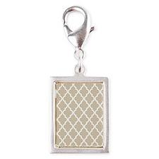 Beige (Khaki) Moroccan Patte Silver Portrait Charm