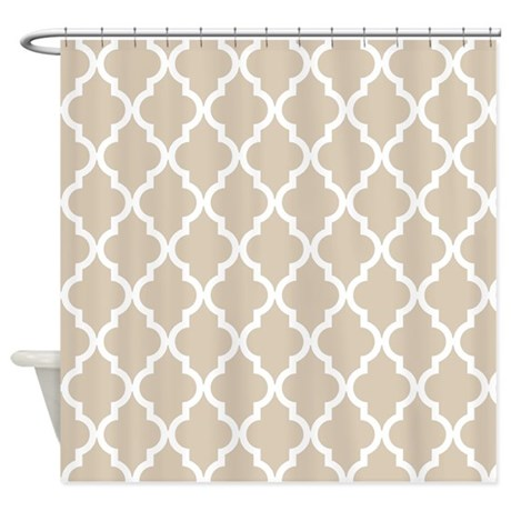 Beige Khaki Moroccan Pattern Shower Curtain By Colors