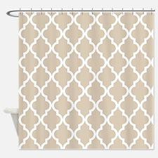 Beige (Khaki) Moroccan Pattern Shower Curtain