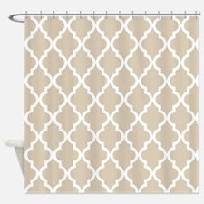Brown, Beige: Quatrefoil Moroccan P Shower Curtain