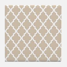 Brown, Beige: Quatrefoil Moroccan Pat Tile Coaster