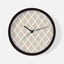 Beige (Khaki) Moroccan Pattern Wall Clock