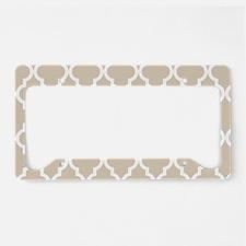 Beige (Khaki) Moroccan Patter License Plate Holder