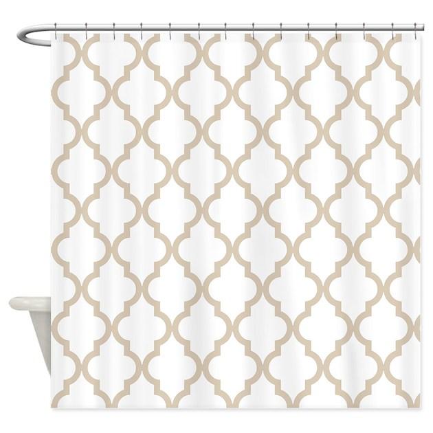 Brown beige quatrefoil moroccan p shower curtain by for Brown beige paint color