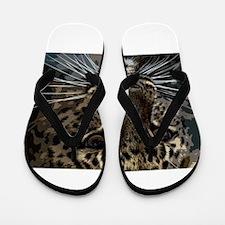 Spotted Cat of Mystery Silk Screen Flip Flops