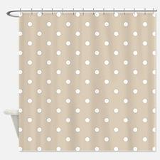 Beige (Khaki) & White Polka Dots Shower Curtain