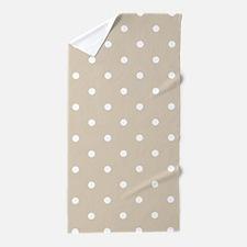 Beige (Khaki) & White Polka Dots Beach Towel