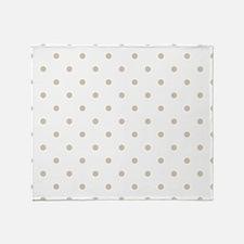 White & Beige (Khaki) Polka Dots Throw Blanket
