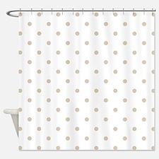 White & Beige (Khaki) Polka Dots Shower Curtain