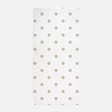 White & Beige (Khaki) Polka Dots Beach Towel