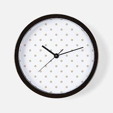Brown, Beige: Polka Dots Pattern (Small Wall Clock