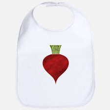 Graphic Red Beet with Chalk Textured Drawing Bib