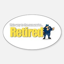 'Retirement Highway 3 :-)' Oval Decal