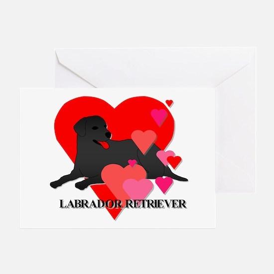 Labrador Retriever Hearts Greeting Card