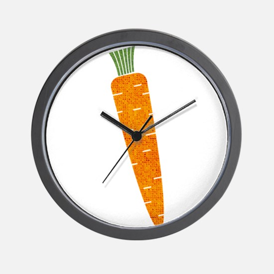 Graphic Orange Carrot with Polka Dots Wall Clock