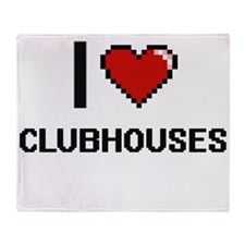 I love Clubhouses Digitial Design Throw Blanket