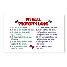 Pit Bull Property Laws Rectangle Decal