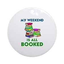 Cute Books Round Ornament