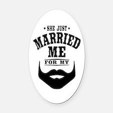 Married Beard Oval Car Magnet