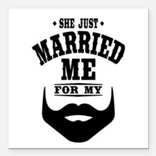 """Married Beard Square Car Magnet 3"""" x 3"""""""