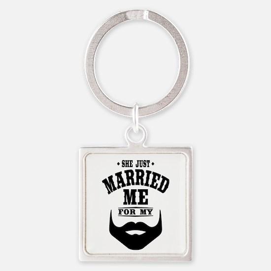 Married Beard Square Keychain