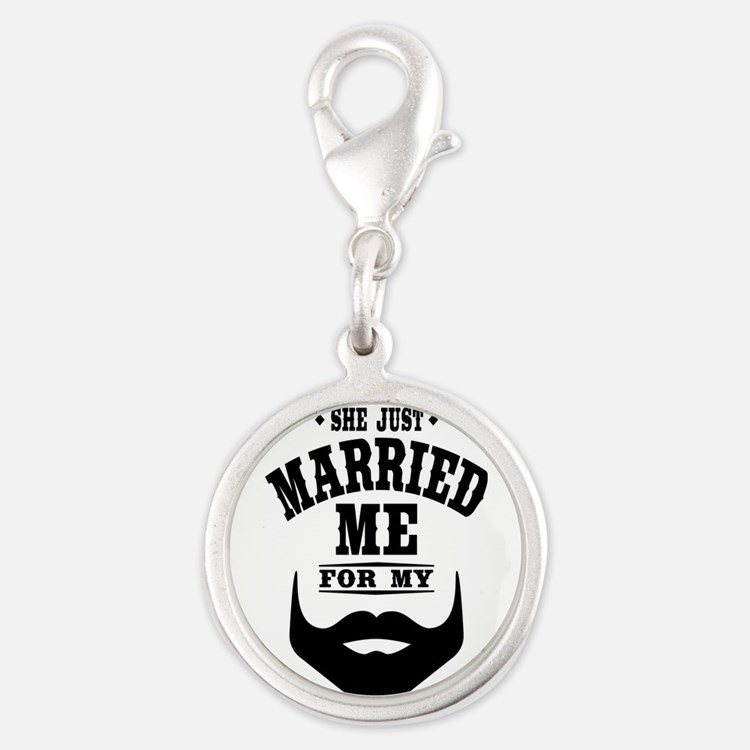 Married Beard Silver Round Charm