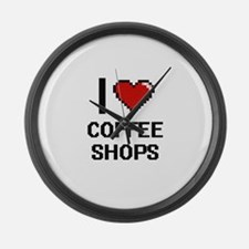 I love Coffee Shops Digitial Desi Large Wall Clock