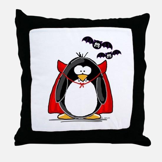 Dracula Penguin Throw Pillow