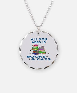 ALLYOU NEED IS BOOKS AND CAT Necklace