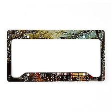 autumn farm landscape barn License Plate Holder