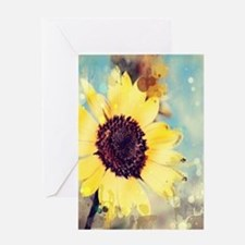 romantic summer watercolor sunflowe Greeting Cards