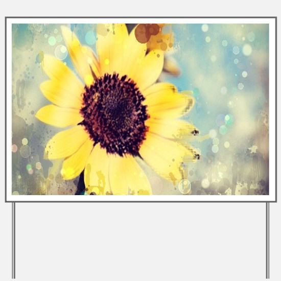 romantic summer watercolor sunflower Yard Sign