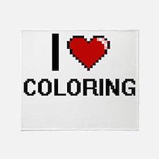 I Love Coloring Digitial Design Throw Blanket