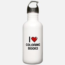 I love Coloring Books Water Bottle