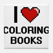 I love Coloring Books Digitial Design Tile Coaster