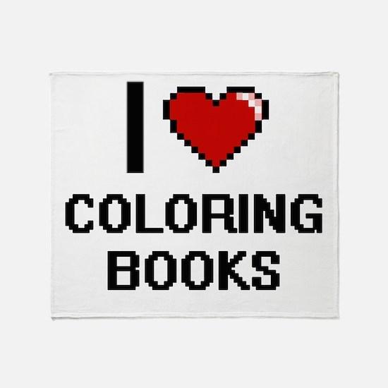 I love Coloring Books Digitial Desig Throw Blanket
