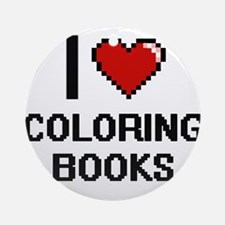 I love Coloring Books Digitial De Ornament (Round)