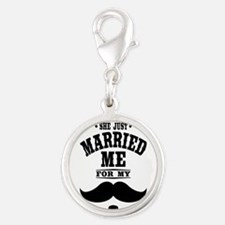 Married Stache Silver Round Charm