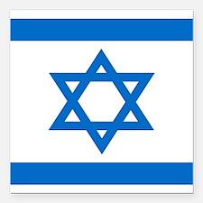 "Square Israeli Flag Square Car Magnet 3"" x 3"""