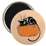 Cat w/ Pumpkin Magnet
