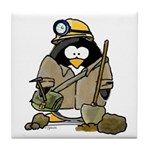 Miner Penguin Tile Coaster