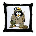 Miner Penguin Throw Pillow