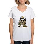Miner Penguin Women's V-Neck T-Shirt