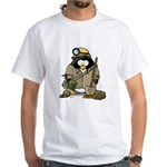 Miner Penguin White T-Shirt