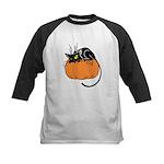 Cat w/ Pumpkin Kids Baseball Jersey