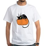 Cat w/ Pumpkin White T-Shirt