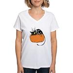 Cat w/ Pumpkin Women's V-Neck T-Shirt